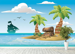 Treasure chest on the unhabited tropical island Wall Mural Wallpaper - Canvas Art Rocks - 4