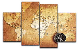 Treasure map background 4 Split Panel Canvas  - Canvas Art Rocks - 1