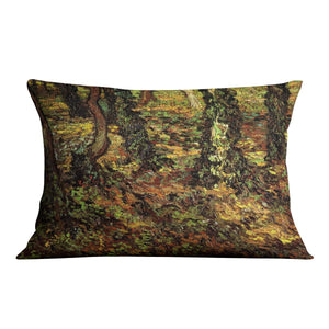 Tree Trunks with Ivy by Van Gogh Throw Pillow