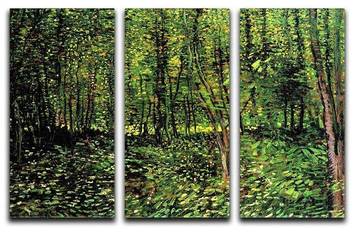 Trees and Undergrowth 2 by Van Gogh 3 Split Panel Canvas Print