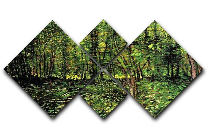 Trees and Undergrowth 2 by Van Gogh 4 Square Multi Panel Canvas