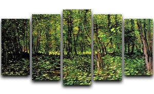 Trees and Undergrowth 2 by Van Gogh 5 Split Panel Canvas  - Canvas Art Rocks - 1