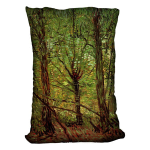 Trees and Undergrowth by Van Gogh Throw Pillow