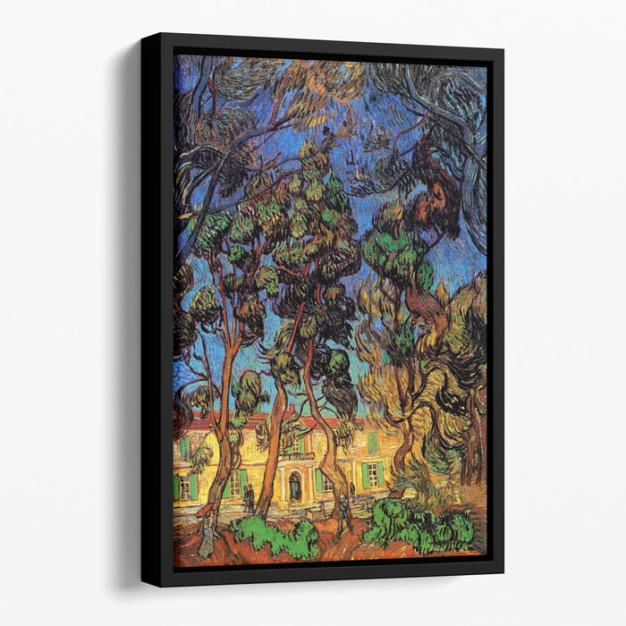Trees in the Garden of Saint-Paul Hospital by Van Gogh Floating Framed Canvas