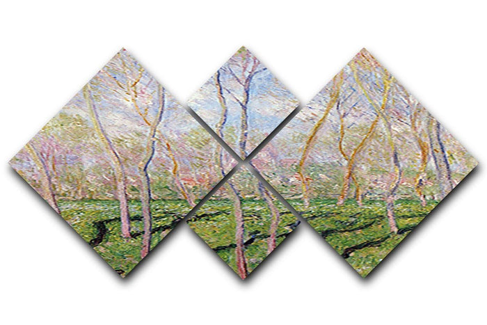 Trees in winter look at Bennecourt by Monet 4 Square Multi Panel Canvas