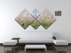 Trees in winter look at Bennecourt by Monet 4 Square Multi Panel Canvas - Canvas Art Rocks - 3