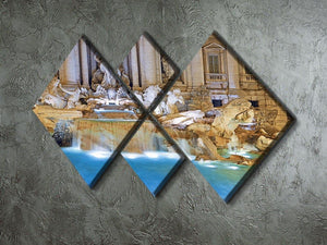 Trevi Fountain Rome 4 Square Multi Panel Canvas  - Canvas Art Rocks - 2