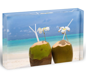 Tropical Coconut Cocktail Acrylic Block - Canvas Art Rocks - 1