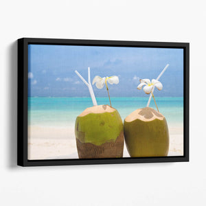 Tropical Coconut Cocktail Floating Framed Canvas