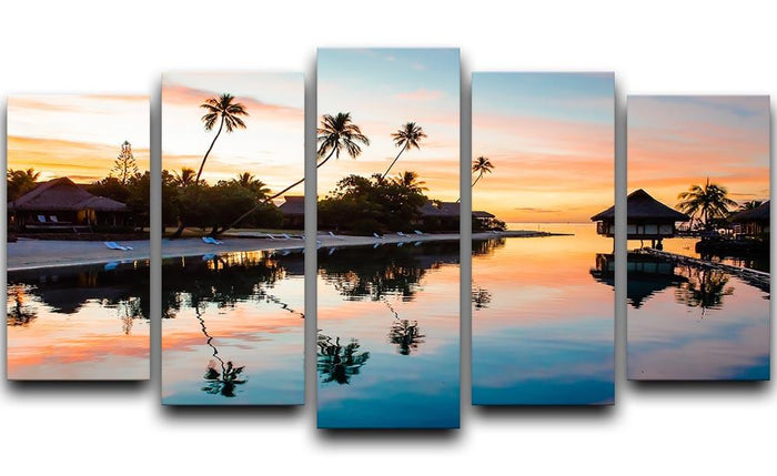 Tropical Sunset at Moorea 5 Split Panel Canvas