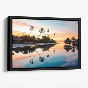 Tropical Sunset at Moorea Floating Framed Canvas
