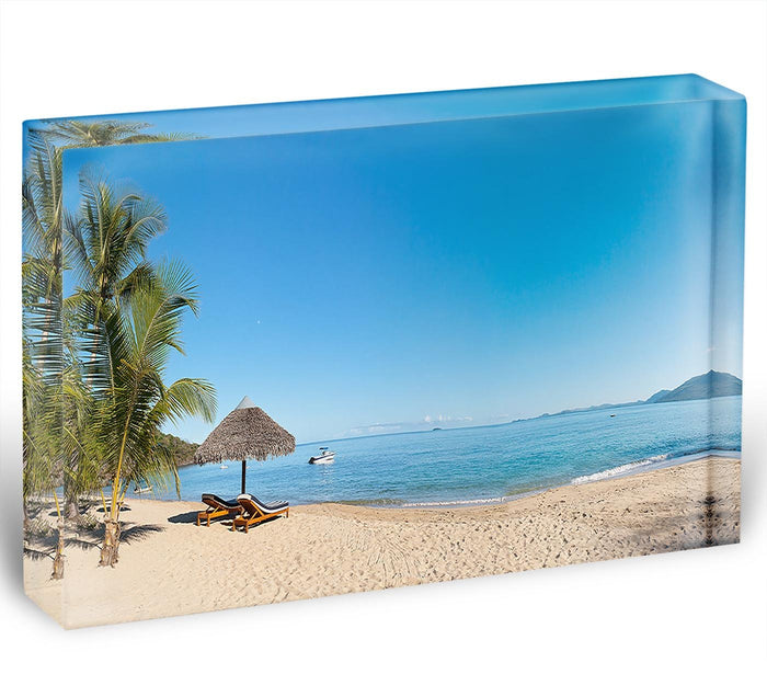 Tropical beach panorama with deckchairs Acrylic Block