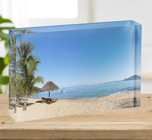 Tropical beach panorama with deckchairs Acrylic Block - Canvas Art Rocks - 2