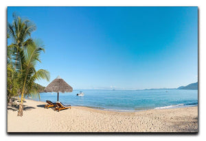Tropical beach panorama with deckchairs Canvas Print or Poster - Canvas Art Rocks - 1