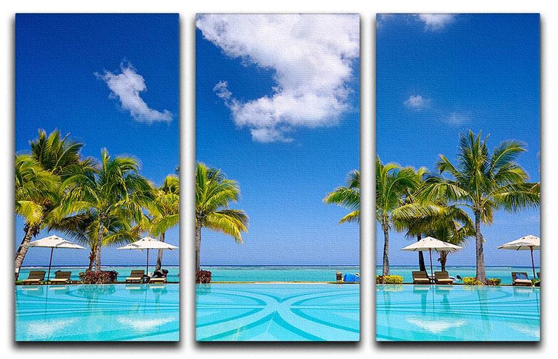 Tropical beach resort with lounge chairs 3 Split Panel Canvas Print - Canvas Art Rocks - 1