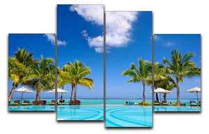 Tropical beach resort with lounge chairs 4 Split Panel Canvas - Canvas Art Rocks - 1