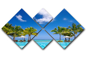 Tropical beach resort with lounge chairs 4 Square Multi Panel Canvas - Canvas Art Rocks - 1