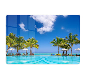 Tropical beach resort with lounge chairs HD Metal Print - Canvas Art Rocks - 1