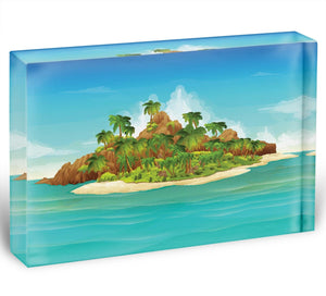 Tropical island vector Acrylic Block - Canvas Art Rocks - 1