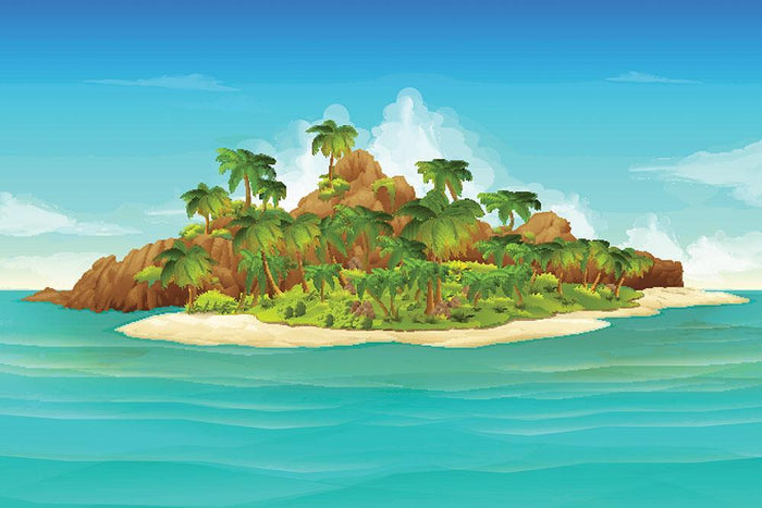 Tropical island vector Wall Mural Wallpaper