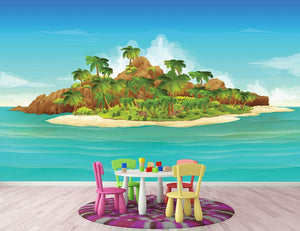 Tropical island vector Wall Mural Wallpaper - Canvas Art Rocks - 2