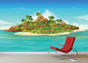 Tropical island vector Wall Mural Wallpaper - Canvas Art Rocks - 3