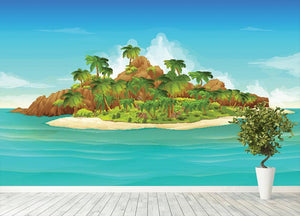Tropical island vector Wall Mural Wallpaper - Canvas Art Rocks - 4