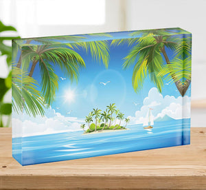 Tropical island with palm trees Acrylic Block - Canvas Art Rocks - 2