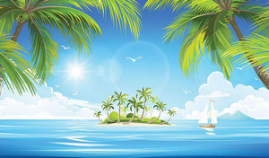 Tropical island with palm trees Wall Mural Wallpaper - Canvas Art Rocks - 1