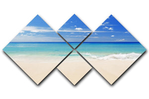Tropical white sand beach and blue sky 4 Square Multi Panel Canvas - Canvas Art Rocks - 1