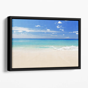 Tropical white sand beach and blue sky Floating Framed Canvas