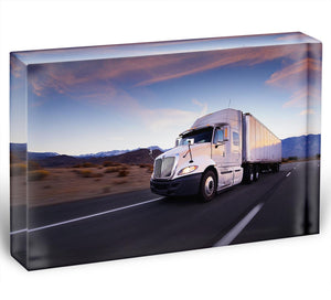 Truck and highway at sunset Acrylic Block - Canvas Art Rocks - 1