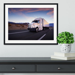 Truck and highway at sunset Framed Print - Canvas Art Rocks - 1