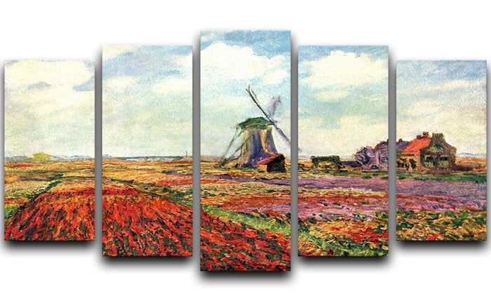 Tulips of Holland by Monet 5 Split Panel Canvas