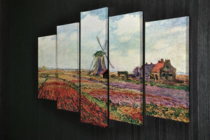 Tulips of Holland by Monet 5 Split Panel Canvas - Canvas Art Rocks - 2