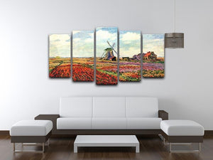 Tulips of Holland by Monet 5 Split Panel Canvas - Canvas Art Rocks - 3