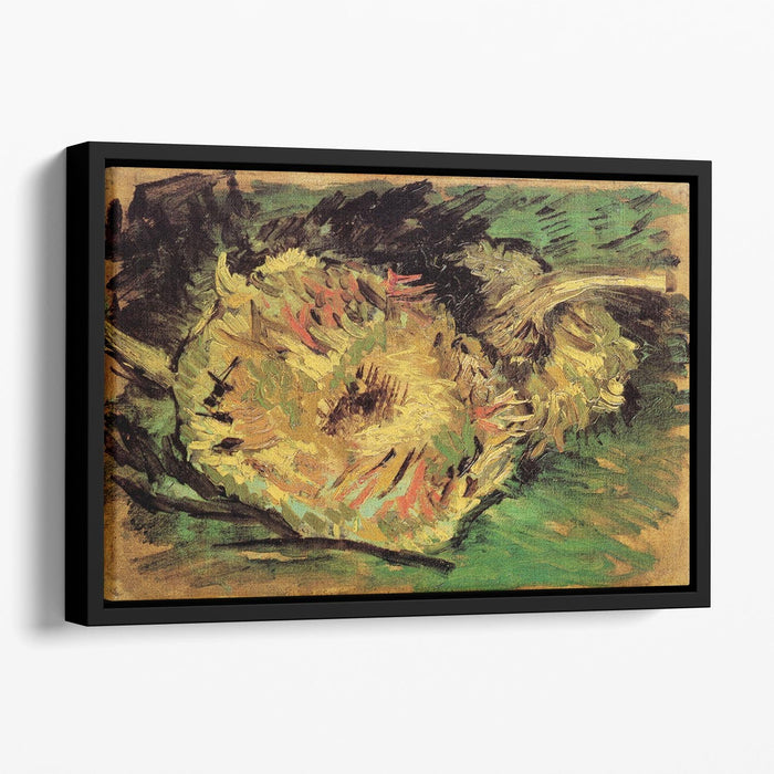 Two Cut Sunflowers by Van Gogh Floating Framed Canvas