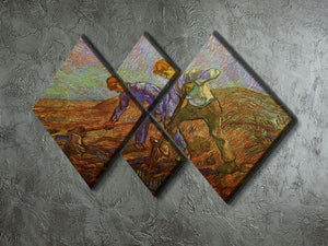 Two Peasants Digging by Van Gogh 4 Square Multi Panel Canvas - Canvas Art Rocks - 2