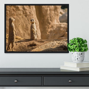 Two alert Meerkats in the desert Framed Print - Canvas Art Rocks - 2