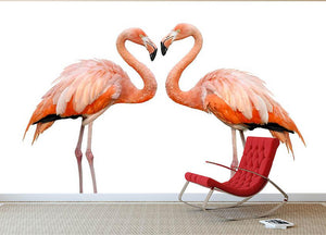 Two beautiful flamingos in love Wall Mural Wallpaper - Canvas Art Rocks - 2