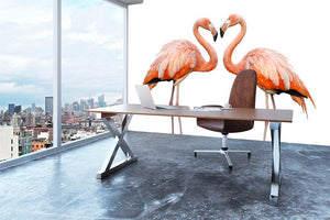 Two beautiful flamingos in love Wall Mural Wallpaper - Canvas Art Rocks - 3