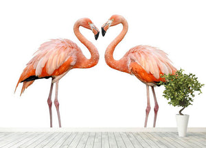 Two beautiful flamingos in love Wall Mural Wallpaper - Canvas Art Rocks - 4