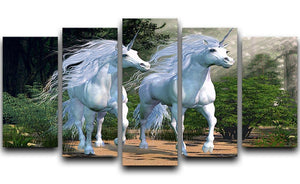 Two buck unicorns run together 5 Split Panel Canvas  - Canvas Art Rocks - 1