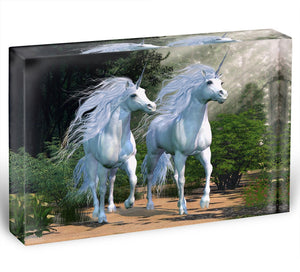 Two buck unicorns run together Acrylic Block - Canvas Art Rocks - 1