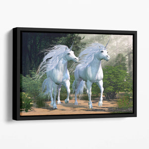 Two buck unicorns run together Floating Framed Canvas