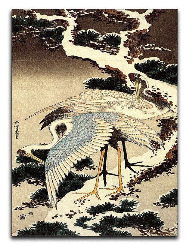 Two cranes on a pine covered with snow by Hokusai Canvas Print or Poster  - Canvas Art Rocks - 1