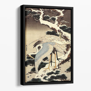 Two cranes on a pine covered with snow by Hokusai Floating Framed Canvas