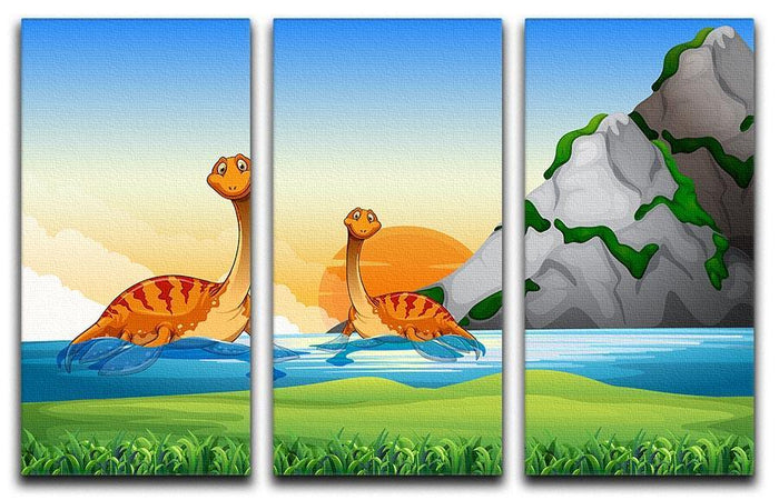 Two dinosaurs in the lake 3 Split Panel Canvas Print