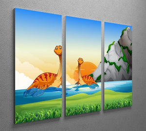 Two dinosaurs in the lake 3 Split Panel Canvas Print - Canvas Art Rocks - 2