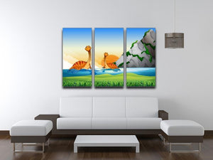 Two dinosaurs in the lake 3 Split Panel Canvas Print - Canvas Art Rocks - 3